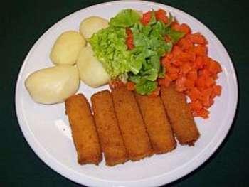 Fischstäbchen mit Kartoffelstampf
