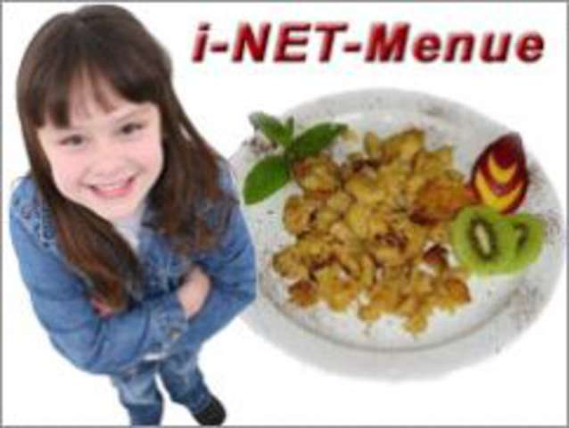 """Spaghetti """"Bolognaise""""  ohne Schwein""""mit Parmesan, kleinen Salat : Dessert Apfel"""