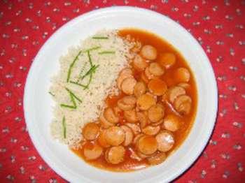 Würstlgulasch mit Reis