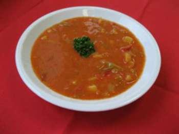 Paprikarahmsuppe, Vegetarisch, Baguette