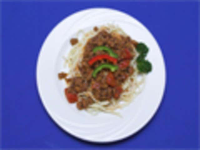 Spaghetti mit Bolognese, Salat