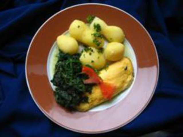 Spinat, Rührei und Kartoffeln