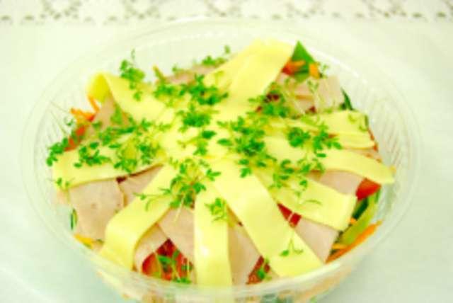 Bunter Salatteller mit gekochtem Schinken und Käse, Dressing und Ciabatta-Sticks