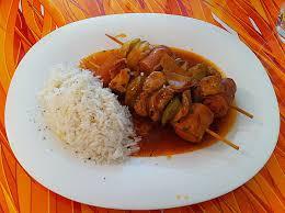 Schaschlik mit Reis
