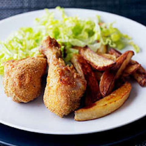 Hähnchenschenkel mit Ofenkartoffeln