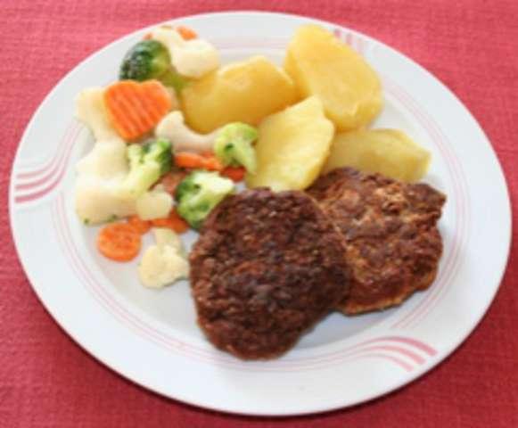 Fleischpflanzl mit Salzkartoffel und Gemüse
