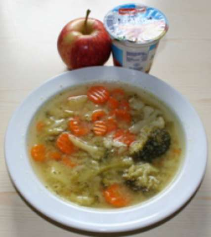 Gemüsesuppe - Obst - Joghurt