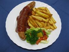 Currywurst (Schwein) mit, Pommes Frites