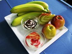 Quarkspeise mit, Fruchtsalat