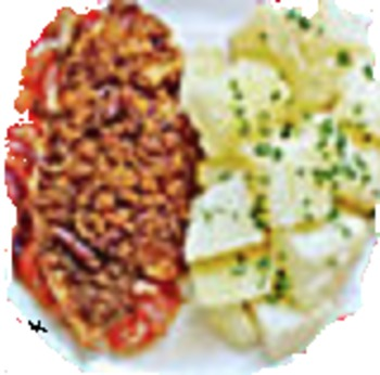 Hähnchenbrustfilet natur gebraten, Rosmarin-Kartoffelecken, Brokkoligemüse