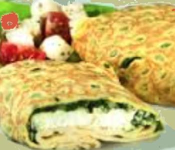Hirtentasche gefüllt mit Weichkäse und Spinat dazu Gemüsereis (veget.)