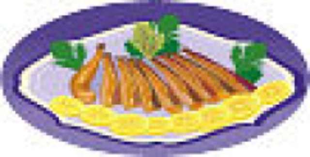 Fischstäbchen mit Salzkartoffeln und Remoulade, kleiner Salat und Dessert