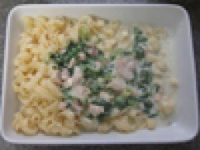 Nudeln mit Lachssahnesoße, kleiner Salat und Dessert
