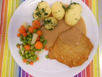 Hähnchenschnitzel  ,Kartoffeln ,Rahmsoße