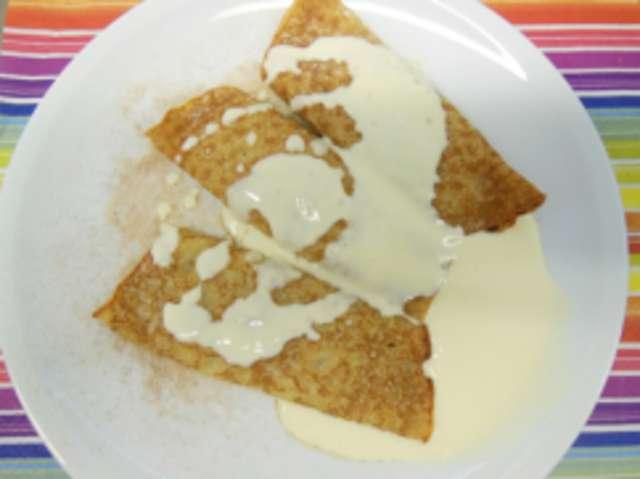 Pfannkuchen 'Quark-Rosine', Vanillesoße