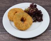 Gemüse Bagel dazu Salzkartoffeln und Paprika Rahmsauce