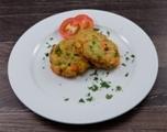 Gemüsefrikadelle dazu Zartweizen und Paprika Rahmsauce