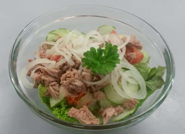 Bunte Salatschale mit Thunfisch und Zwiebeln