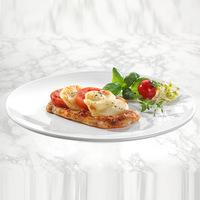 Fruchtkaltschale Hähnchenschnitzel( Natur)mit Tomaten -Mozzarella überbacken Currysoße Vollkornreis bunter Salatteller Vanillepudding