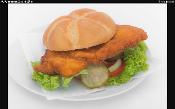 1 paniertes Schweineschnitzel (A,C,G)im Brötchen(A), Remoulade oder Ketchup, Salatbüffet