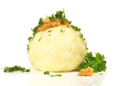 """Vegetarische Pfanne """"Jäger Art""""  mit Reiberknödel und Salat"""