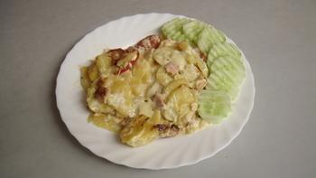 Kartoffelauflauf, Salat
