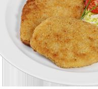 Veggie-Schnitzel; aus Soja Bio Naturreis Pfannengemüse in Kräuterbutter Bio Sauerrahmsoße mit Kräutern Bio Obst