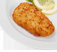 Knusprig panierter Dorsch; aus nachhaltiger Fischwirtschaft Bio Salzkartoffeln Pfannengemüse in Kräuterbutter Bio Sauerrahmsoße mit Kräutern Bio Obst